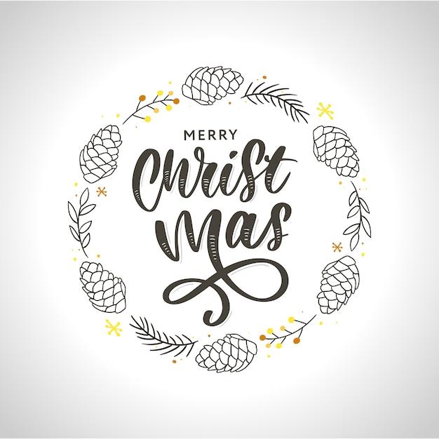 Corona di natale inchiostro disegnato a mano con urto, rami di abete, decorazioni natalizie. Vettore Premium