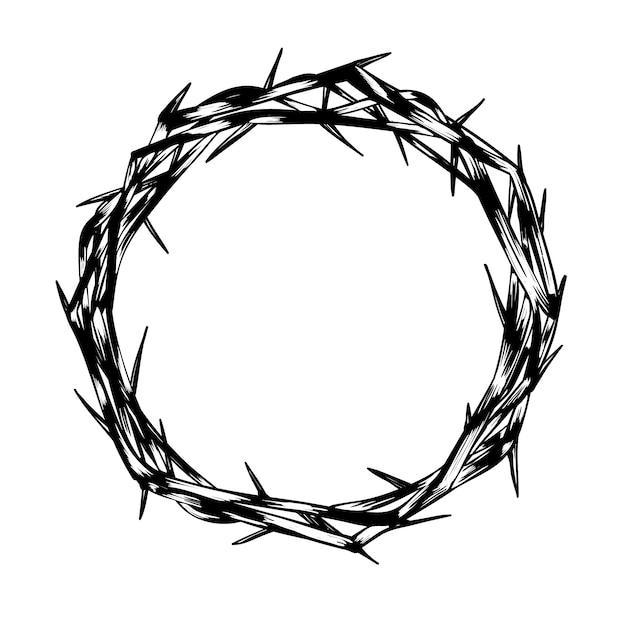 Corona di spine disegnata a mano Vettore gratuito