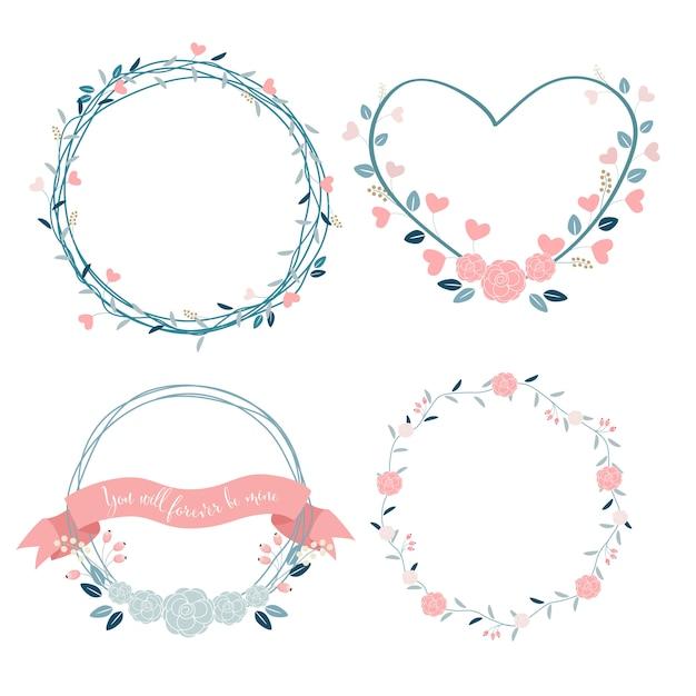 Corona di valentines minimal in colori pastello Vettore Premium