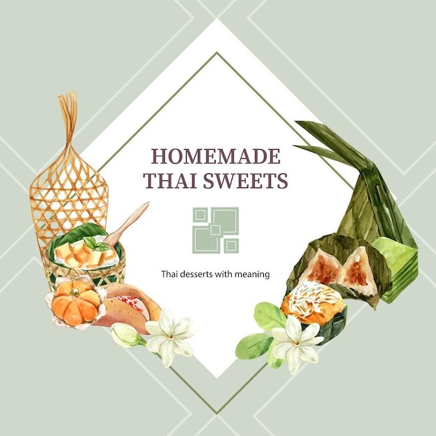 Corona dolce tailandese con pasta della piramide, acquerello stratificato dell'illustrazione della gelatina. Vettore gratuito