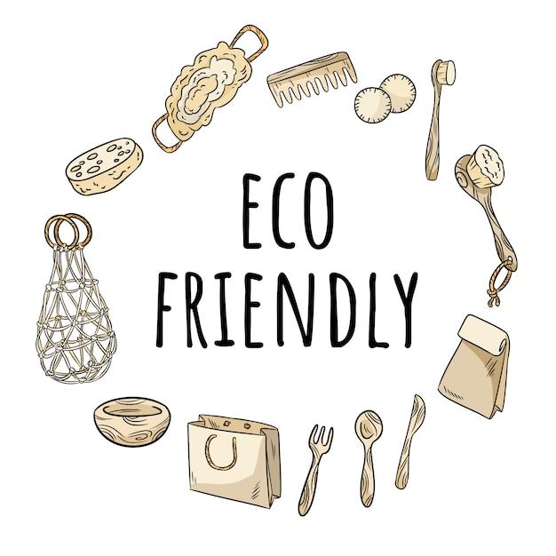 Corona ecologica di articoli in plastica. concetto di ornamento ecologico e privo di sprechi. diventa verde Vettore Premium