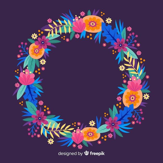 Corona floreale colorata disegnata a mano Vettore gratuito