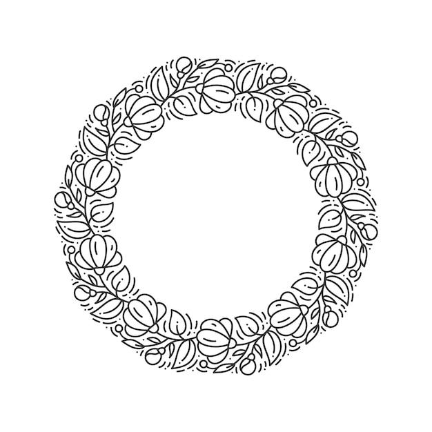 Corona floreale del fiore di logo di vettore rotondo floreale. monogramma elemento vintage Vettore Premium