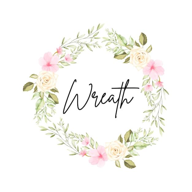 Corona floreale dell'acquerello con fiori e foglie Vettore Premium