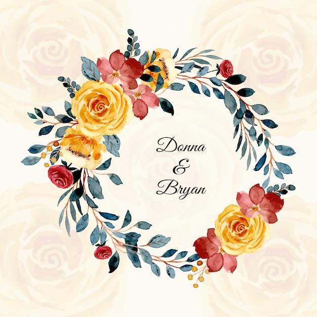 Corona floreale dell'acquerello della carta di nozze Vettore Premium