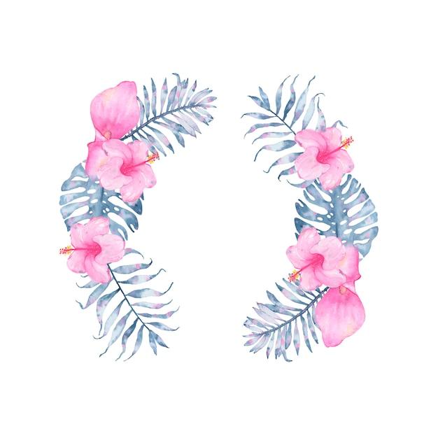 Corona floreale dell'acquerello indaco tropicale con ibisco rosa calla e foglie di monstera palma indaco Vettore gratuito