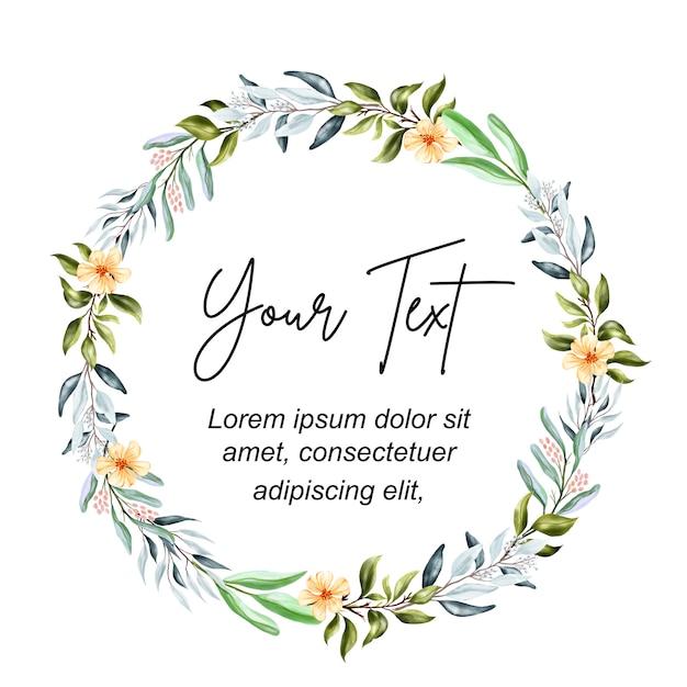 Corona floreale di belle foglie Vettore Premium