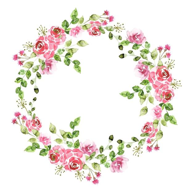 Corona floreale in stile acquerello Vettore gratuito