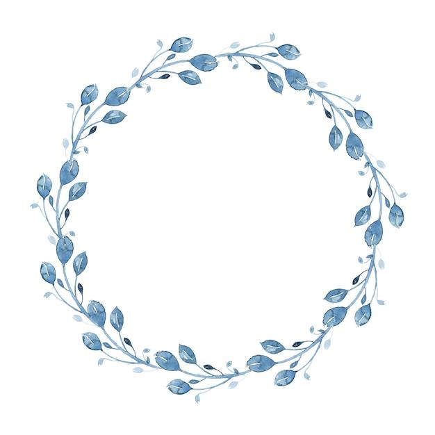 Corona floreale indaco dell'acquerello con ramoscello, ramo e foglie astratte Vettore gratuito