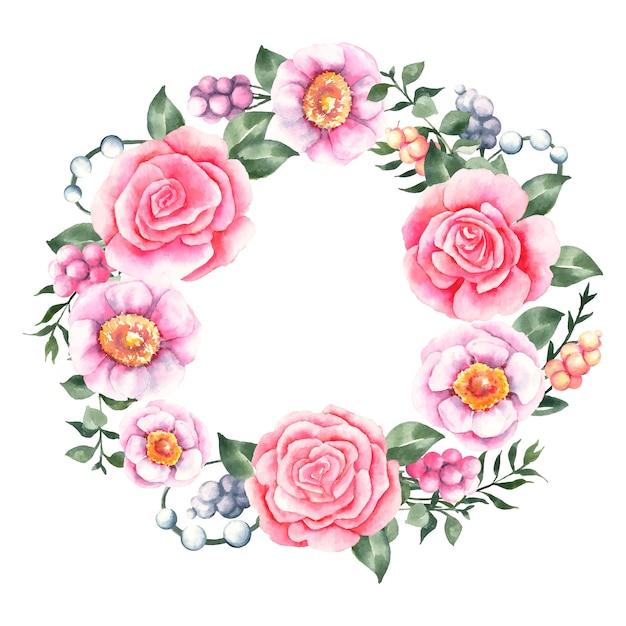 Corona floreale lussureggiante nel concetto dell'acquerello Vettore gratuito