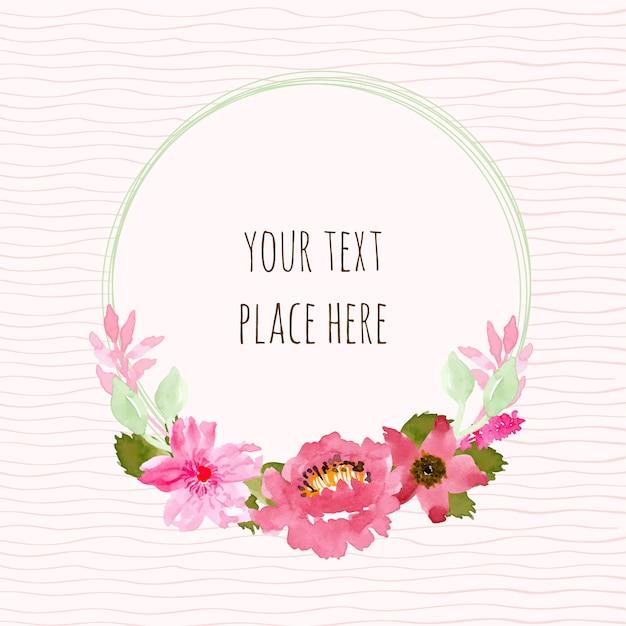 Corona rosa e verde floreale con acquerello Vettore Premium