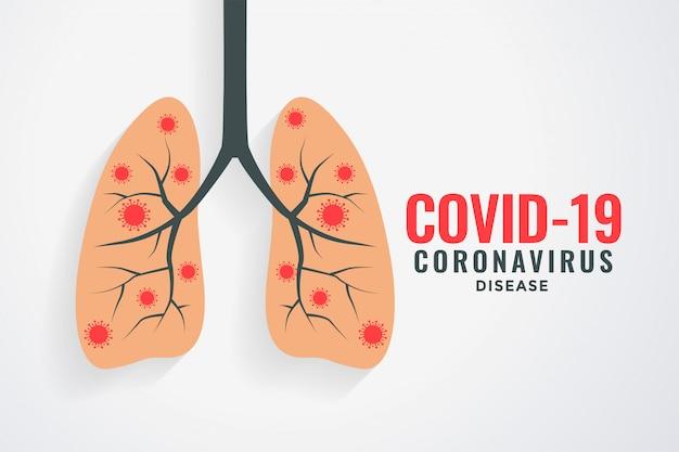 Coronavirus che infetta la progettazione del fondo dei polmoni umani Vettore gratuito