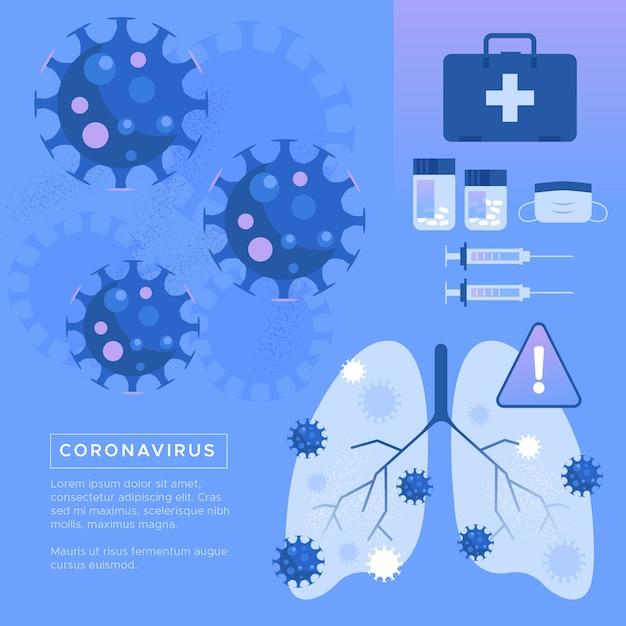 Coronavirus concetto polmoni malati Vettore gratuito