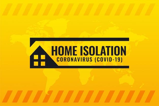 Coronavirus covid-19 simbolo di isolamento domestico su sfondo giallo Vettore gratuito