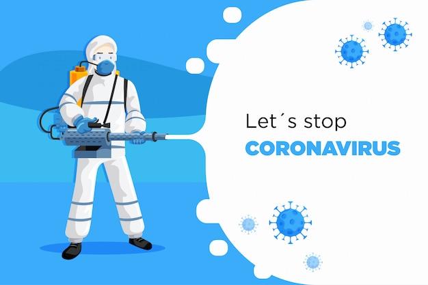 Coronavirus covid19 combattente Vettore Premium