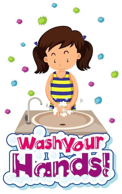 Coronavirus design poster a tema con la parola lavarsi le mani Vettore gratuito