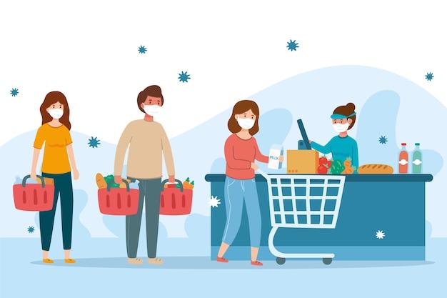 Coronavirus e concetto della gente del supermercato Vettore gratuito