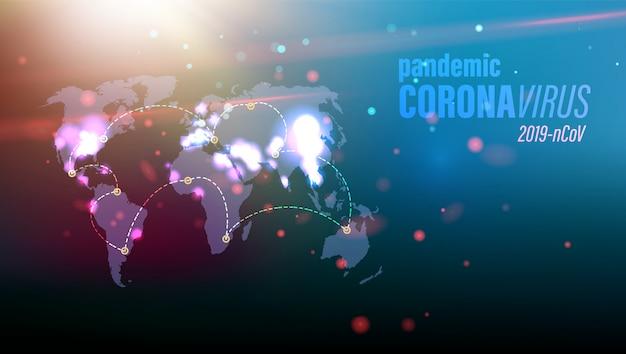 Coronavirus pericolo concetto immagine sulla mappa del mondo blu con particelle rosse in ambiente. Vettore Premium