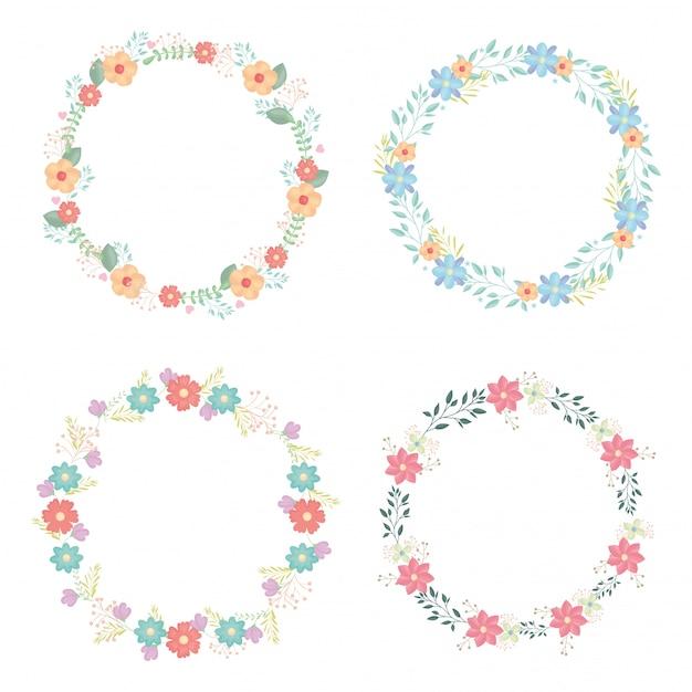 Corone circolari con decorazione di fiori e foglie Vettore gratuito