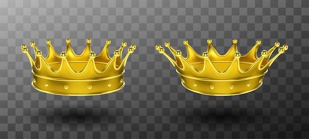 Corone d'oro per il simbolo della monarchia del re o della regina Vettore gratuito