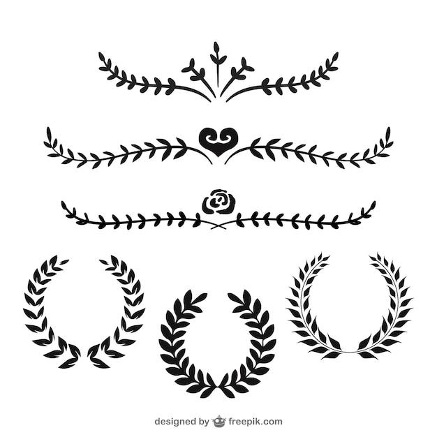 Corone di alloro e divisori Vettore gratuito