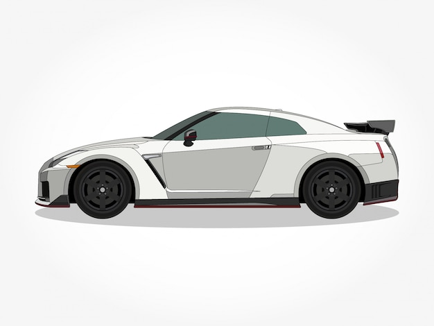Corpo dettagliato e cerchioni di un'illustrazione di vettore del fumetto auto piatto colorato con tratto nero ed effetto ombra Vettore Premium