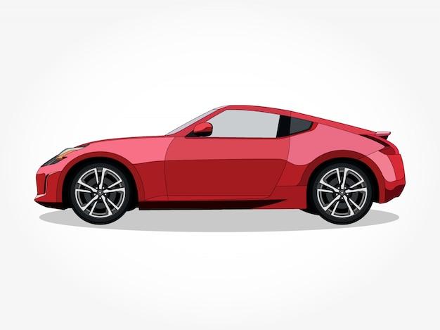 Corpo e cerchi dettagliati dell'illustrazione del fumetto dell'automobile Vettore Premium
