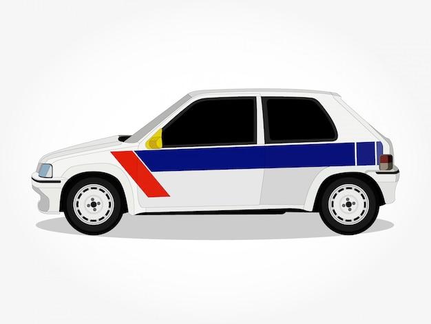 Corpo e orli dettagliati di un'illustrazione di vettore del fumetto dell'automobile dell'annata Vettore Premium