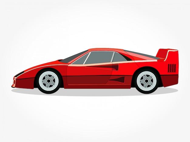 Corpo ed orli dettagliati di un'illustrazione di vettore del fumetto dell'automobile sportiva Vettore Premium