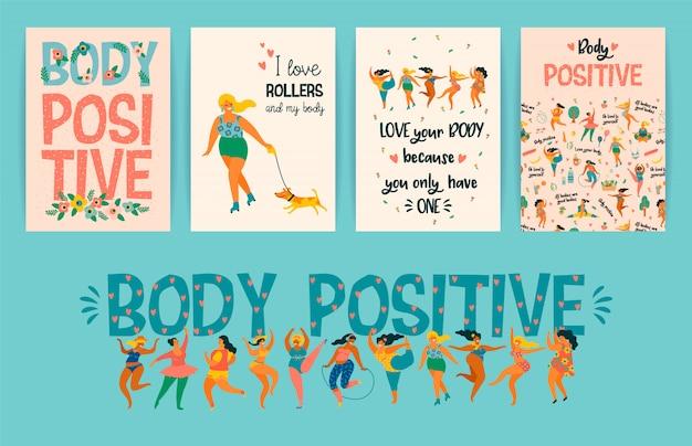 Corpo positivo. ragazze taglie forti felici e stile di vita sano e attivo. Vettore Premium