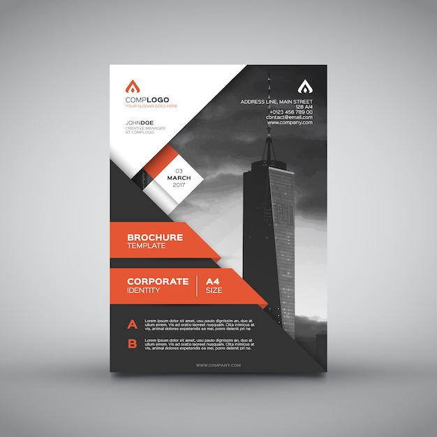 Corporate design brochure arancione Vettore gratuito