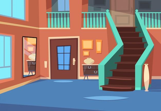 Corridoio dei cartoni animati. interno di ingresso casa con scale e specchio. Vettore Premium