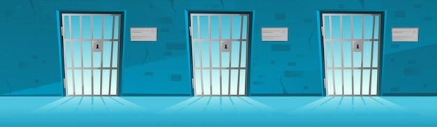 Corridoio della prigione con la porta della griglia nello stile del fumetto, prigione di corridoio Vettore Premium