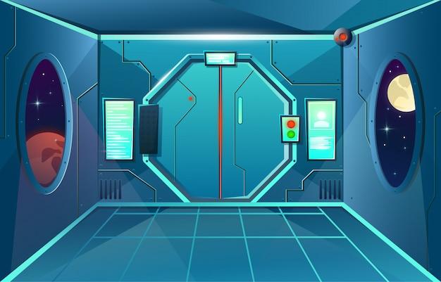 Corridoio in astronave con oblò e telecamera. stanza interna futuristica con porta per giochi e applicazioni Vettore Premium