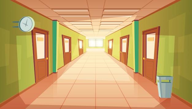 Corridoio scuola dei cartoni animati con finestra e molte porte. Vettore gratuito