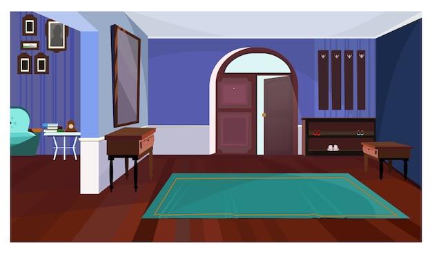 Corridoio scuro con l'illustrazione della moquette e della porta aperta Vettore gratuito