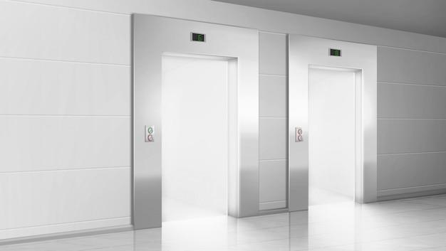Corridoio vuoto con luce dalle porte aperte degli ascensori Vettore gratuito