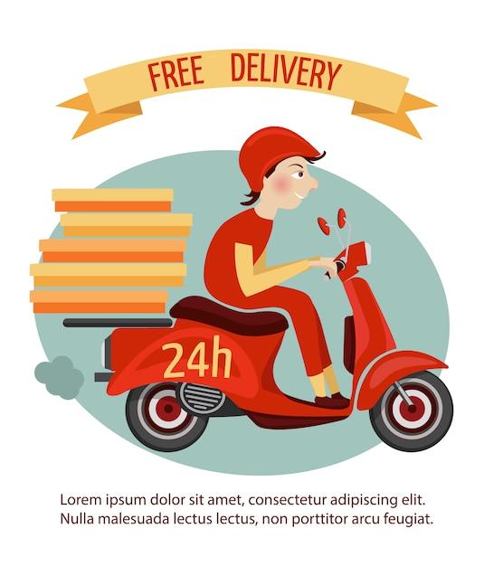 Corriere di consegna sul retro motorino con le scatole veloce illustrazione di vettore del manifesto di servizio 24h Vettore gratuito