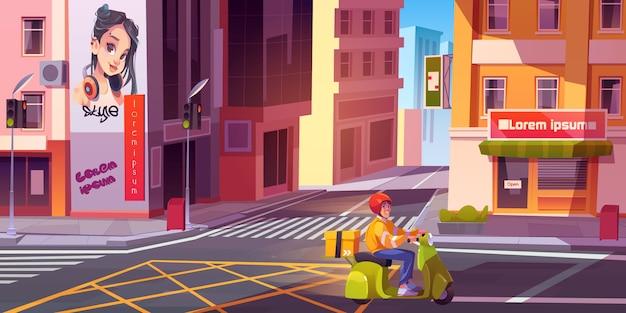 Corriere in bici sulla strada della città. giovane uomo di consegna con cassetta dei pacchi consegna di generi alimentari o merci su paesaggio urbano urbano vuoto con crocevia e semafori. fumetto illustrazione vettoriale Vettore gratuito