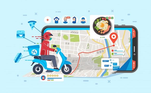 Corriere in sella a moto per l'invio di cibo ordinato dalla gente tramite app nell'illustrazione del telefono Vettore Premium
