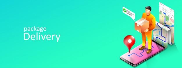 Corriere online di servizi di consegna pacchi con applicazione di localizzazione mappe gps tramite telefono cellulare o smartphone. illustrazione Vettore Premium