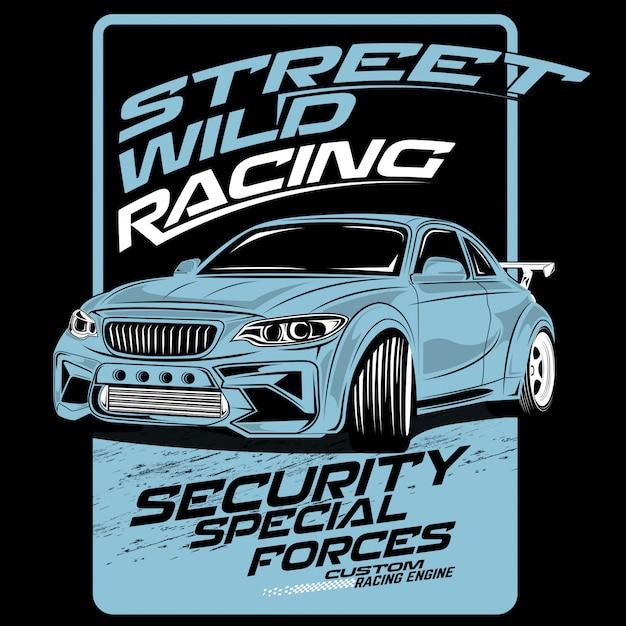 Corsa selvaggia della via, illustrazioni dell'automobile di vettore Vettore Premium