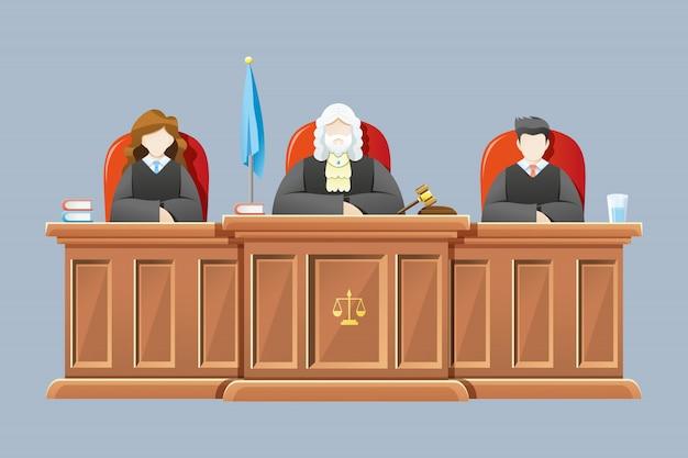 Corte suprema con l'illustrazione dei giudici Vettore Premium
