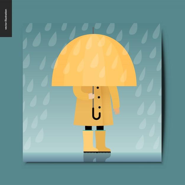Cose semplici - ombrello Vettore Premium