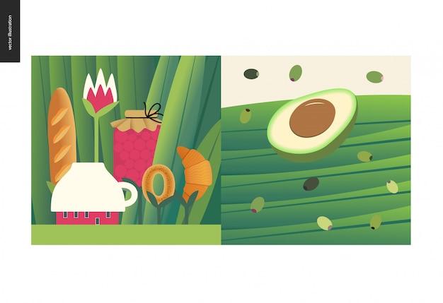 Cose semplici - pasto - illustrazione di vettore del fumetto piatto di piccola casa della tazza e tee pasto tra enormi tronchi d'erba, marmellata, pane, croissant, metà di avocado e olive verdi nere Vettore Premium