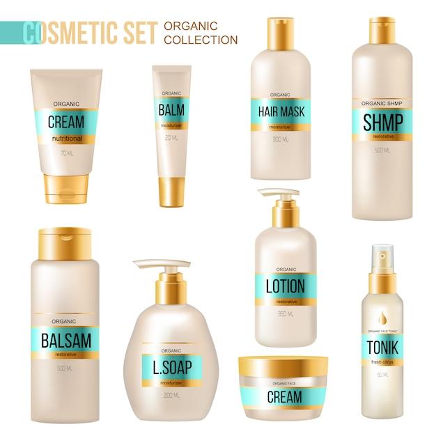 Cosmetici biologici di lusso e collezione di prodotti di bellezza con crema per le labbra, balsamo per le labbra e dispenser di sapone Vettore gratuito
