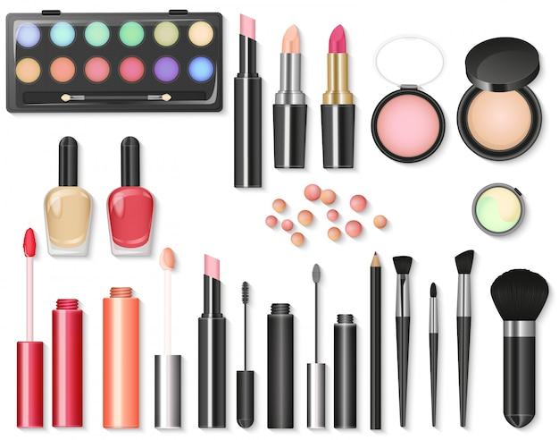 Cosmetici di bellezza set di trucco Vettore Premium
