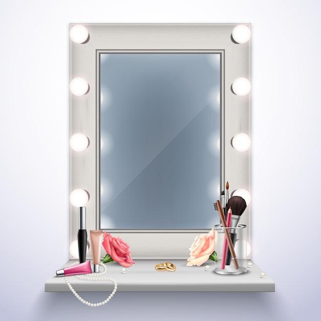 Cosmetici e gioielli dello specchio di trucco per l'illustrazione realistica di vettore della composizione nella sposa Vettore gratuito