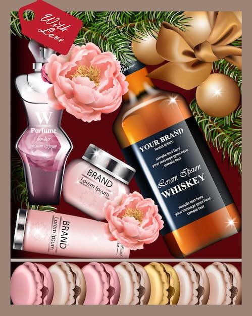 Cosmetici e whisky del contenitore di regalo vettore realistico. vista dall'alto Vettore Premium