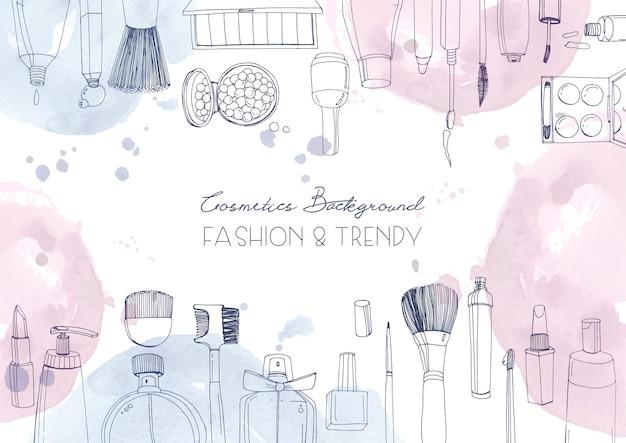 Cosmetici moda sfondo orizzontale con oggetti truccatore e macchie di acquerello. illustrazione disegnata a mano con posto per il testo. Vettore Premium
